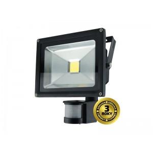 LED vonkajší reflektor, 20W, 1400lm, AC 230V, čierny, so senzorom SOLIGHT WM-20WS-E