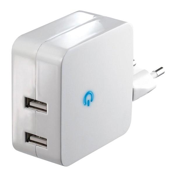 Adaptér USB 5V/2x2,1A biely DC09
