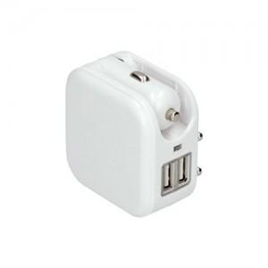 Adaptér auto+zásuvka, 2x USB, max. 2400mA, AC 230V / DC 12V, biely DC42