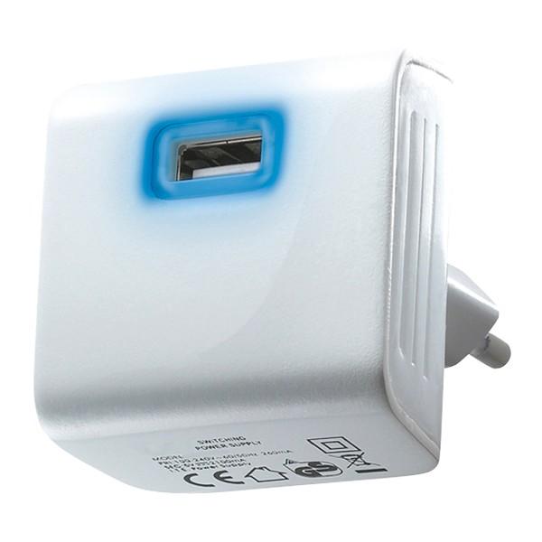 Adaptér USB 5V/2100mA biely