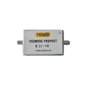 Anténna priepust pásmová TEROZ 555X, pre kanály k.21 až k.48, filter 5G, LTE, CDMA, UFON, F-F