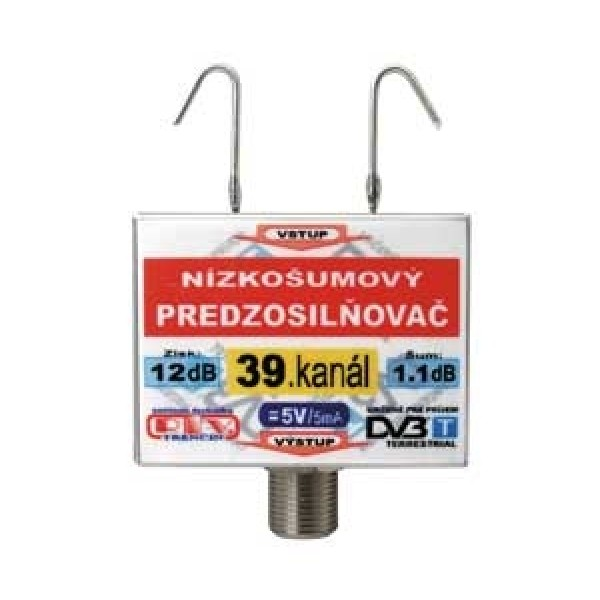 Anténny zosilňovač DVB-T 39K 5V 12dB F