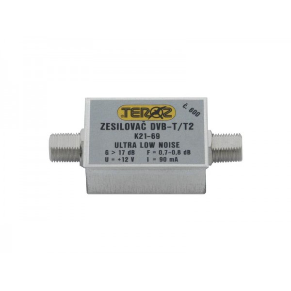 Anténny zosilňovač TEROZ 600X, nízkošumový, UHF, G17dB, F0,7dB, U> 120dBμV, F-F