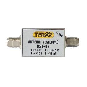 Anténny zosilňovač nízkošumový DVB-T 14dB F-F Teroz 406X