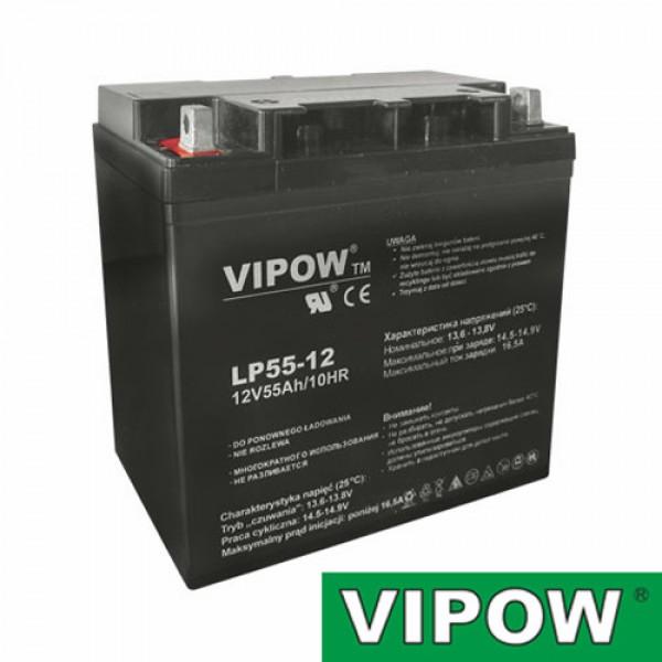 Batéria olovená 12V/55Ah VIPOW bezúdržbový akumulátor