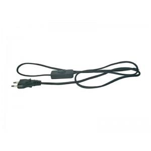 Flexo šnúra PVC 2x0,75mm 2m čierna s vypínačom