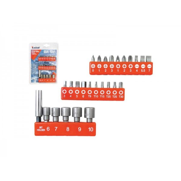 Hroty, sada 26ks nadstavce 6-7-8-9-10mm, magnetický držiak hrotov EXTOL PREMIUM