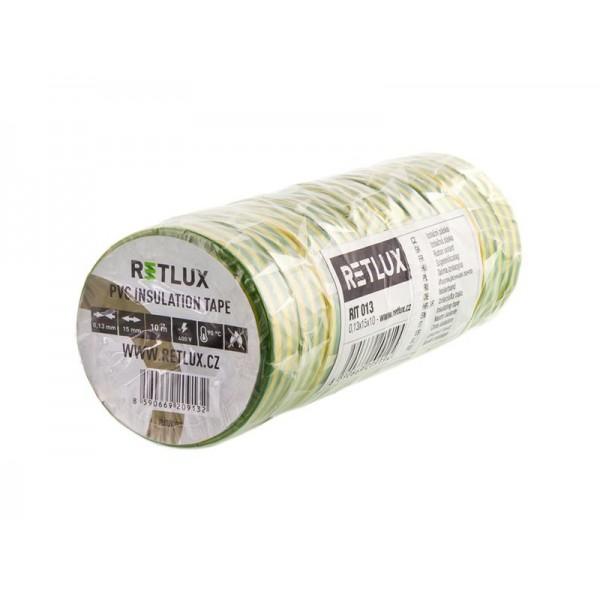 Izolačná páska PVC 15/10m RETLUX RIT 013 10ks zelenožltá