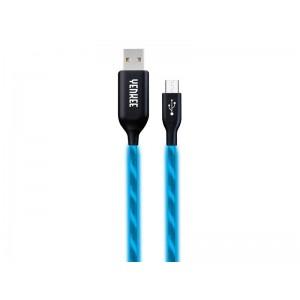 Kábel USB - Micro USB, svietiace modrý 1m YENKEE YCU 231 BE