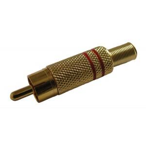 Konektor CINCH kábel kov zlatý červený
