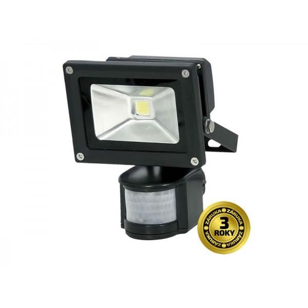 LED vonkajší reflektor, 10W, 700lm, AC 230V, čierny, so senzorom PIR