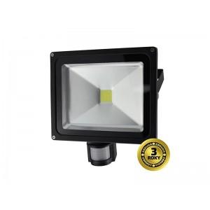 LED vonkajší reflektor, 30W, 2100lm, AC 230V, čierny, so senzorom WM-30WS-E SOLIGHT