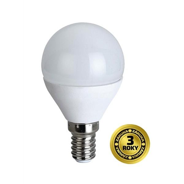 LED žiarovka, miniglobe, 4W, E14, 3000K, 310lm, biele prevedenie