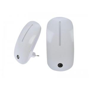 Nočné LED svetielko so svetelným senzorom, 1W, plug-in, biele Solight WL901