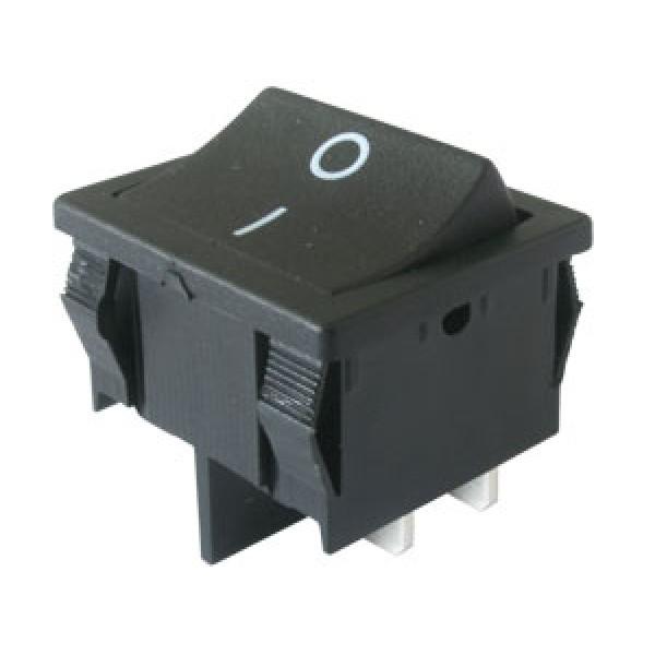 Prepínač kolískový 2pol. 4pin ON-OFF 250V 6A čierny