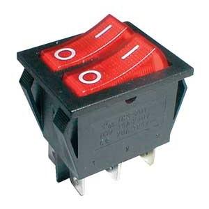 Prepínač kolískový 2x(2pol. 3pin) ON-OFF 250V 15A pros. červený