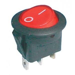 Prepínač kolískový okrúhly pros. 2pol. 3pin ON-OFF 16A 12VDC červený