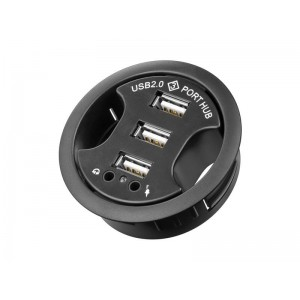 Redukcia USB hub 3 porty, 2 x audio jack 3,5 mm k zapusteniu do dosky pracovného stola