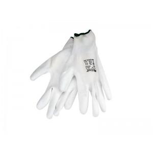 Rukavice z polyesteru polomáčané v PU, biele, 200mm, EXTOL PREMIUM