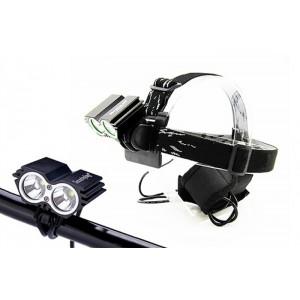Svietidlo nabíjacie LED cyklo a čelové svietidlo, 1100lm, 2x Cree XML-T6 LED, Li-Ion