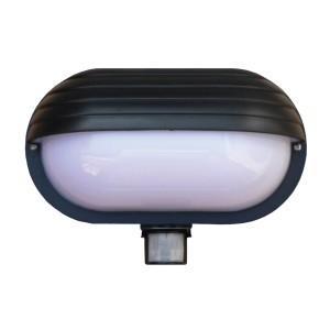Svietidlo nástenné s čidlom pohybu Oval PIR-Micro, čierne
