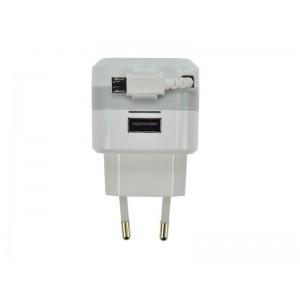 USB nabíjací adaptér, navíjací kábel micro USB + 1x USB, Solight DC39