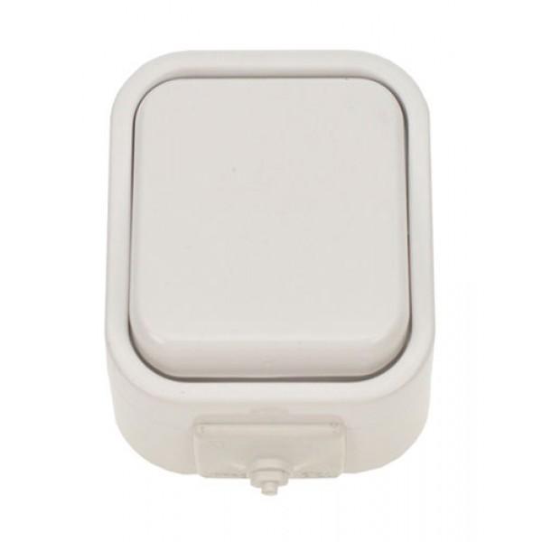 Vypínač do vlhka jednopólový biely 5D01
