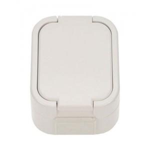 Zásuvka nástenná do vlhka s viečkom biela 5D06