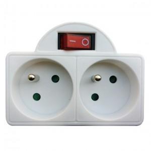 Zásuvka rozbočovacia 2x 10A, biela, vypínač