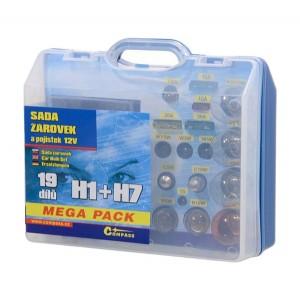 Žiarovky 12V servisný box MEGA H1 + H7 + poistky