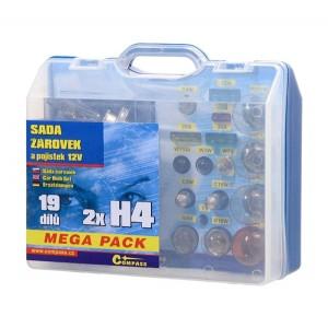 Žiarovky 12V servisný box MEGA H4 + H4 + poistky
