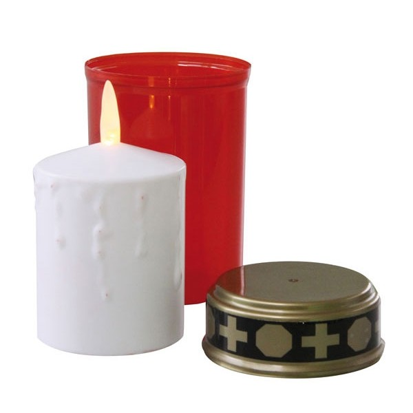 Svietidlo LED hrobová sviečka nízka - červená P4601