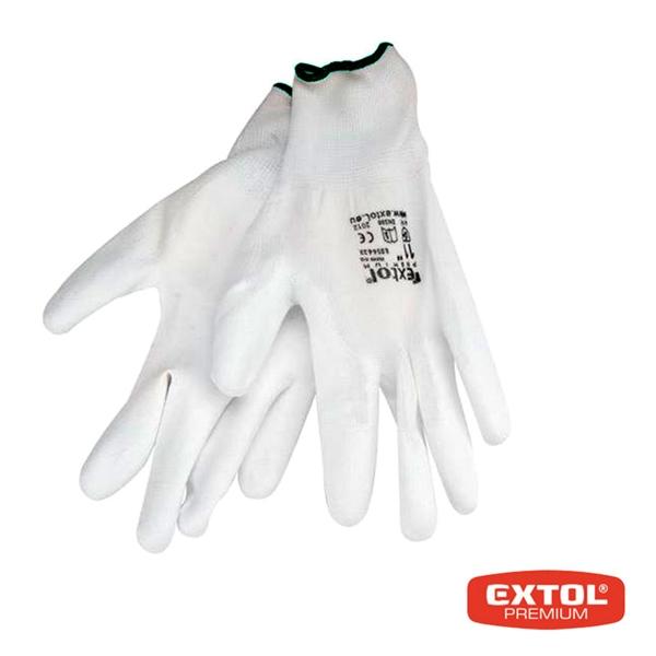 Rukavice z polyesteru polomáčané v PU, biele, 250mm, EXTOL PREMIUM