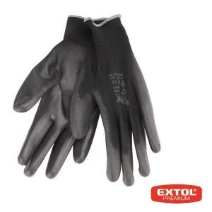 Rukavice z polyesteru polomáčané v PU, čierne, 280mm, EXTOL PREMIUM